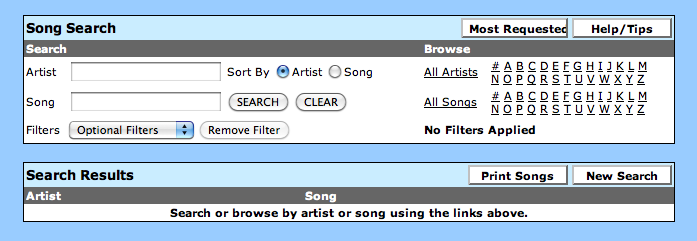 Unlimited Song Database and Music Requests